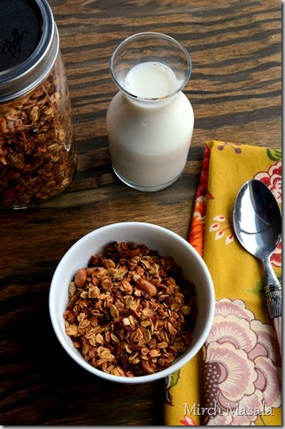 Basic Granola Recipe with a hint of Cardamom