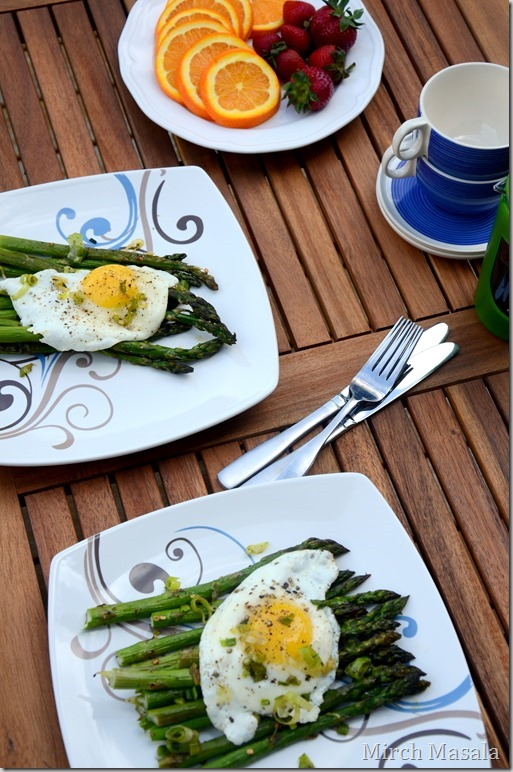Fried Eggs Over Roasted Asparagus and Green Garlic Herb Butter  Spring Brunch Recipe (3)