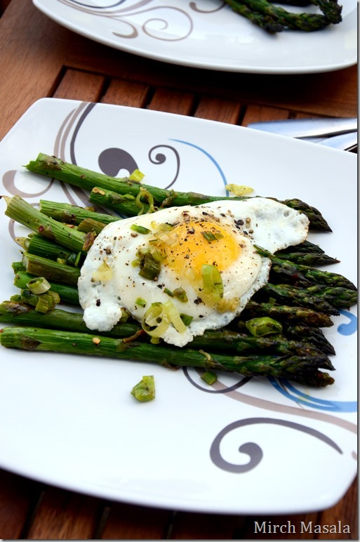 Fried Eggs Over Roasted Asparagus and Green Garlic Herb Butter  Spring Brunch Recipe (4)