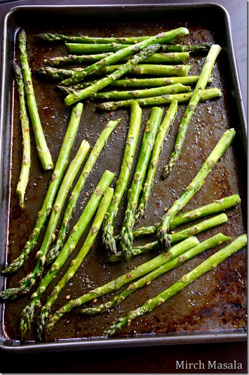 Fried Eggs Over Roasted Asparagus and Green Garlic Herb Butter  Spring Brunch Recipe