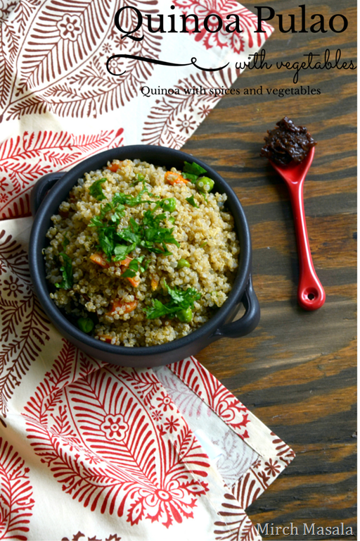 Quinoa Vegetable Pulao ~ Quinoa with Spices and Vegetables