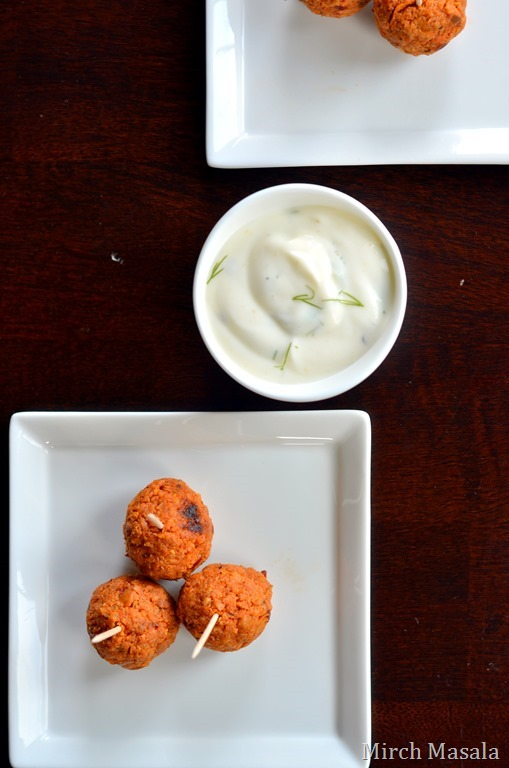 Red Curry Chicken Sausage Meatballs with Dill Sour Cream Dipping Sauce - Mirch Masala - Supoerbowl  Game Day Snacks (2)