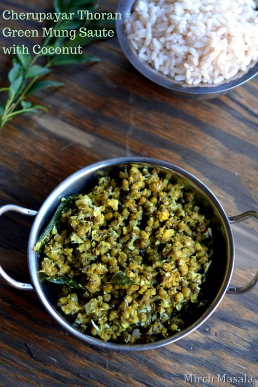 Green Mung Saute with Coconut - Kerala Recipe Indian Recipe Vegetarian ...